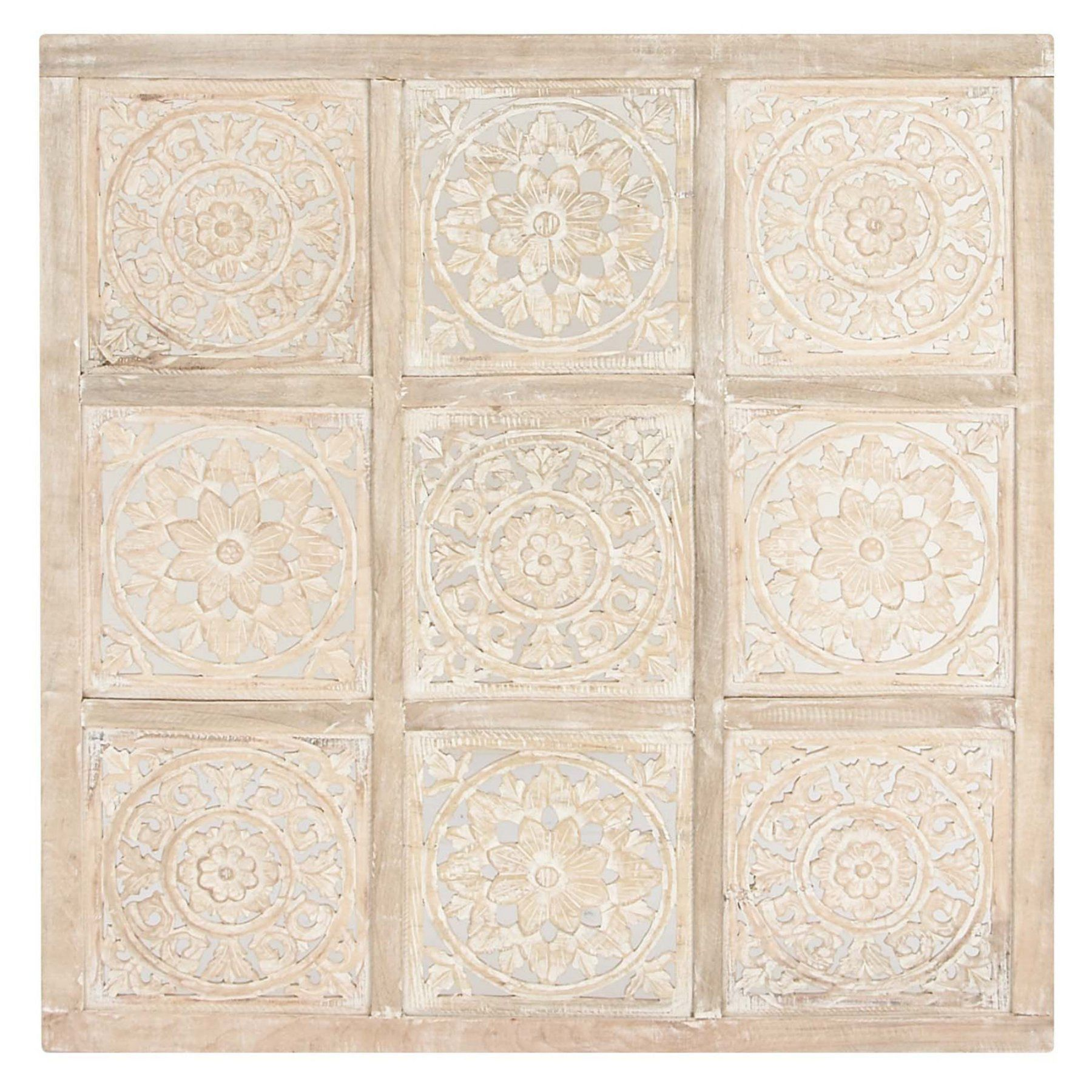 Decmode square floral carved whitewash mango wood wall decor