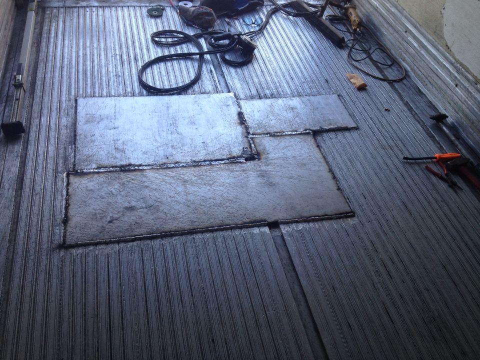 Aluminum refrigerated trailer floor repair Welding and