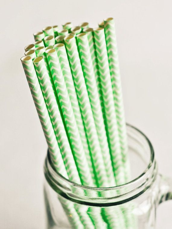 Paper Straws in Mint Green & White Chevron (Set of 25) Spring Summer Cute Fun Pretty Wedding Birthday Party Baby Shower Accessories Decor