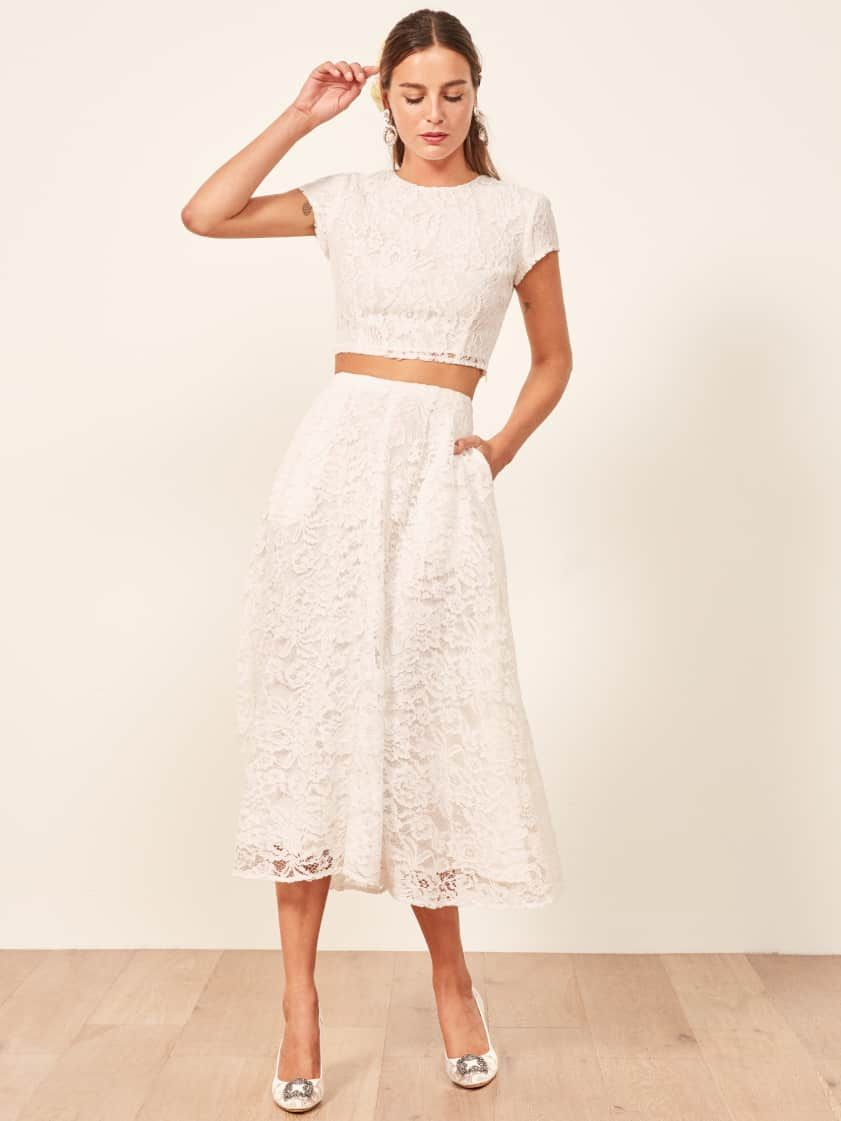 Reformation Harp Two Piece 2 Piece Wedding Crop Top And Skirt Lace Bridal Shower Engag Casual Wedding Dress Reception Dress Short Rehearsal Dinner Dresses [ 1121 x 841 Pixel ]