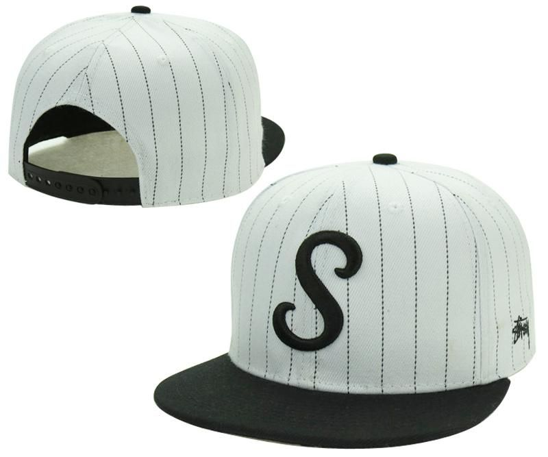 Mens Stussy Jumbo Classic S Embroidered Logo Striped Fashion Snapback Adjustable  Cap - White   Black 9ac03728f809
