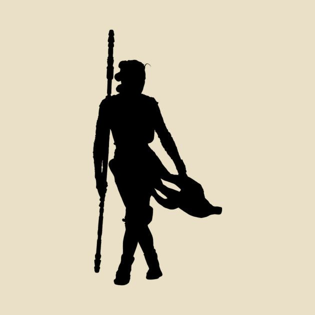 Awesome Rey With Staff Silhouette Design On TeePublic