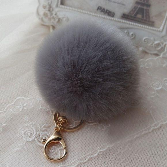 64c779d91db0 Gray PomPom FurBall Bag Charm Keychain This Gorgeous Pom Pom will give a  fantastic