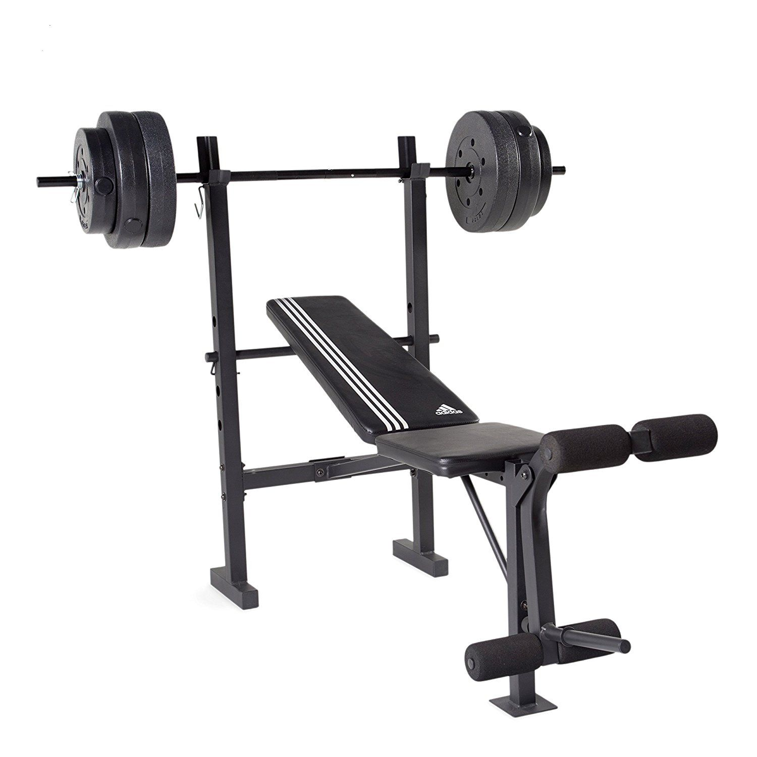 Amazon.com : adidas Essential Combo Training Bench with weight Set, 100 lb : Sports & Outdoors