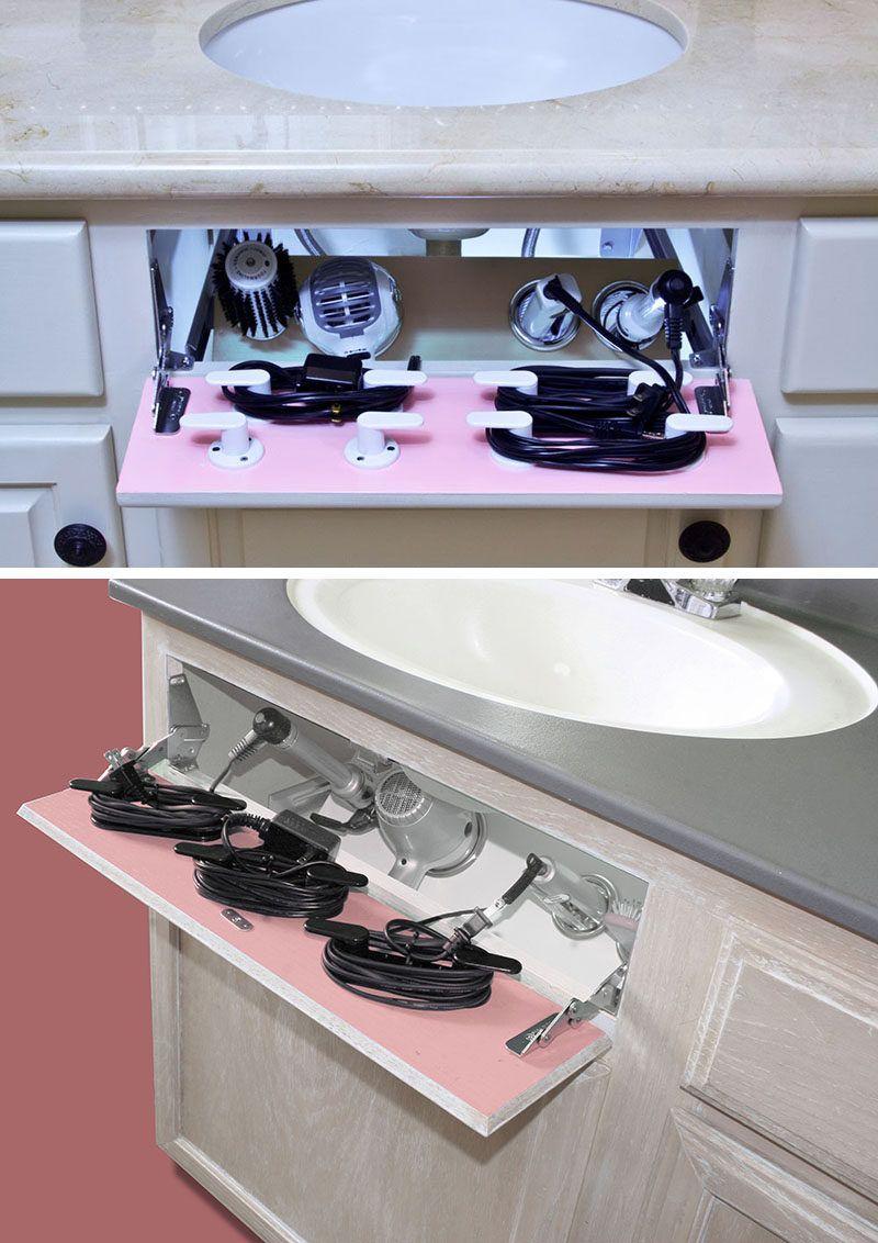 7 Bathroom Storage Ideas For Hair Tools //