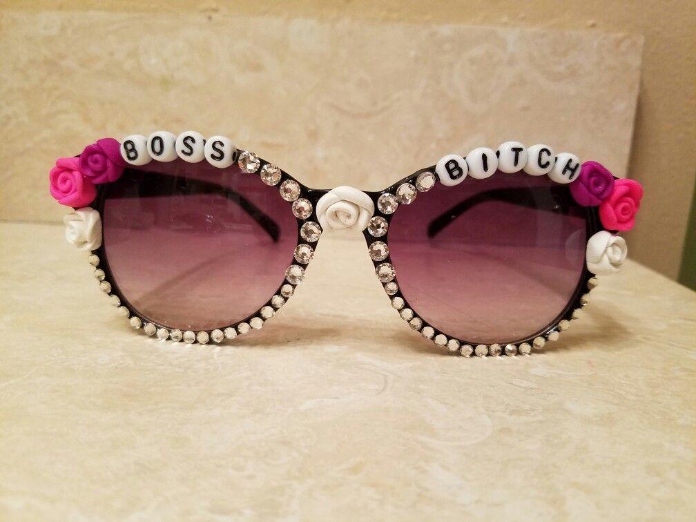 27c7a81d167 Boss Bitch Embellished Sunglasses www.nancebeth.etsy.com