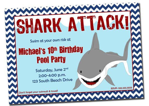 pool party shark birthday invitation printable digital file