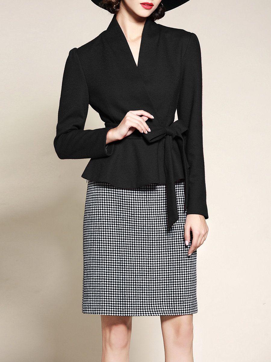 Adorewe stylewe riwins black two piece long sleeve midi dress wit