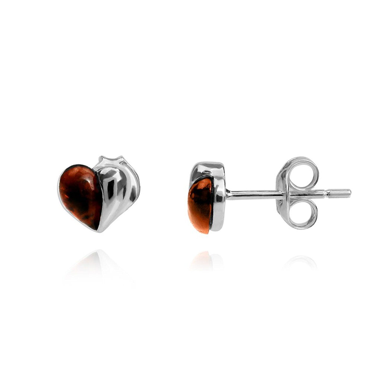 Ornami Sterling Silver Amber Set diamond shape Stud Earrings UTxFM