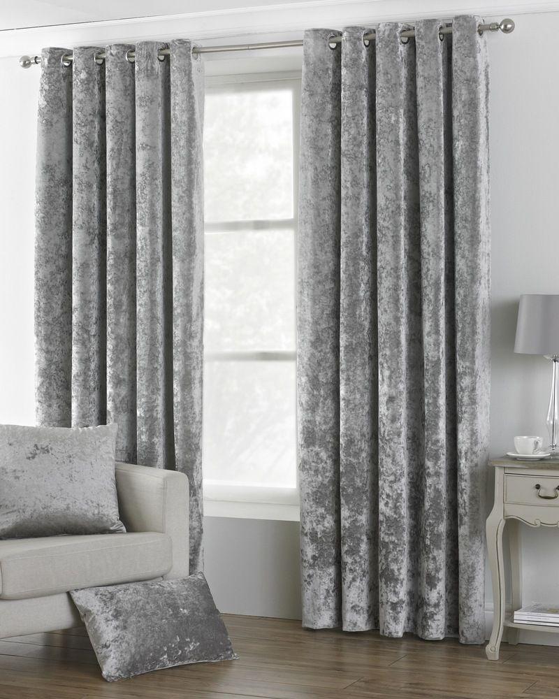 Verona Crushed Ready Made Lined Silver Eyelet Curtains Velvet Curtains Bedroom Velvet Curtains Curtains