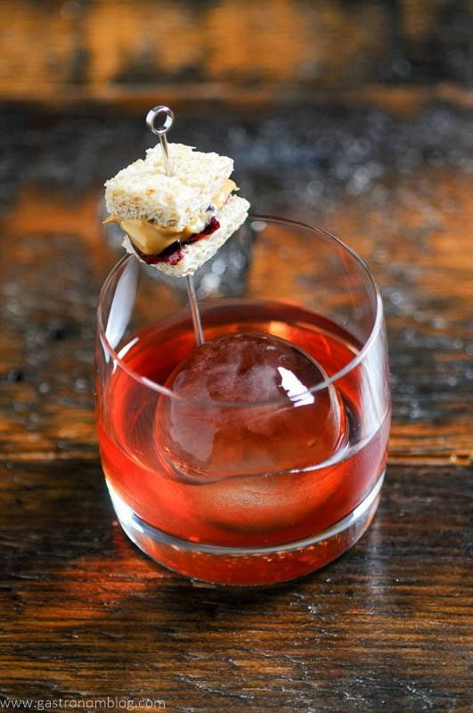 An Old Fashioned cocktail with the flavors of peanut butter and jelly. Using Skrewball Peanut ...