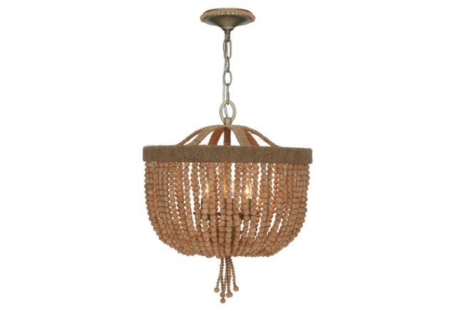 Eva 3-Light Beaded Chandelier, Wood