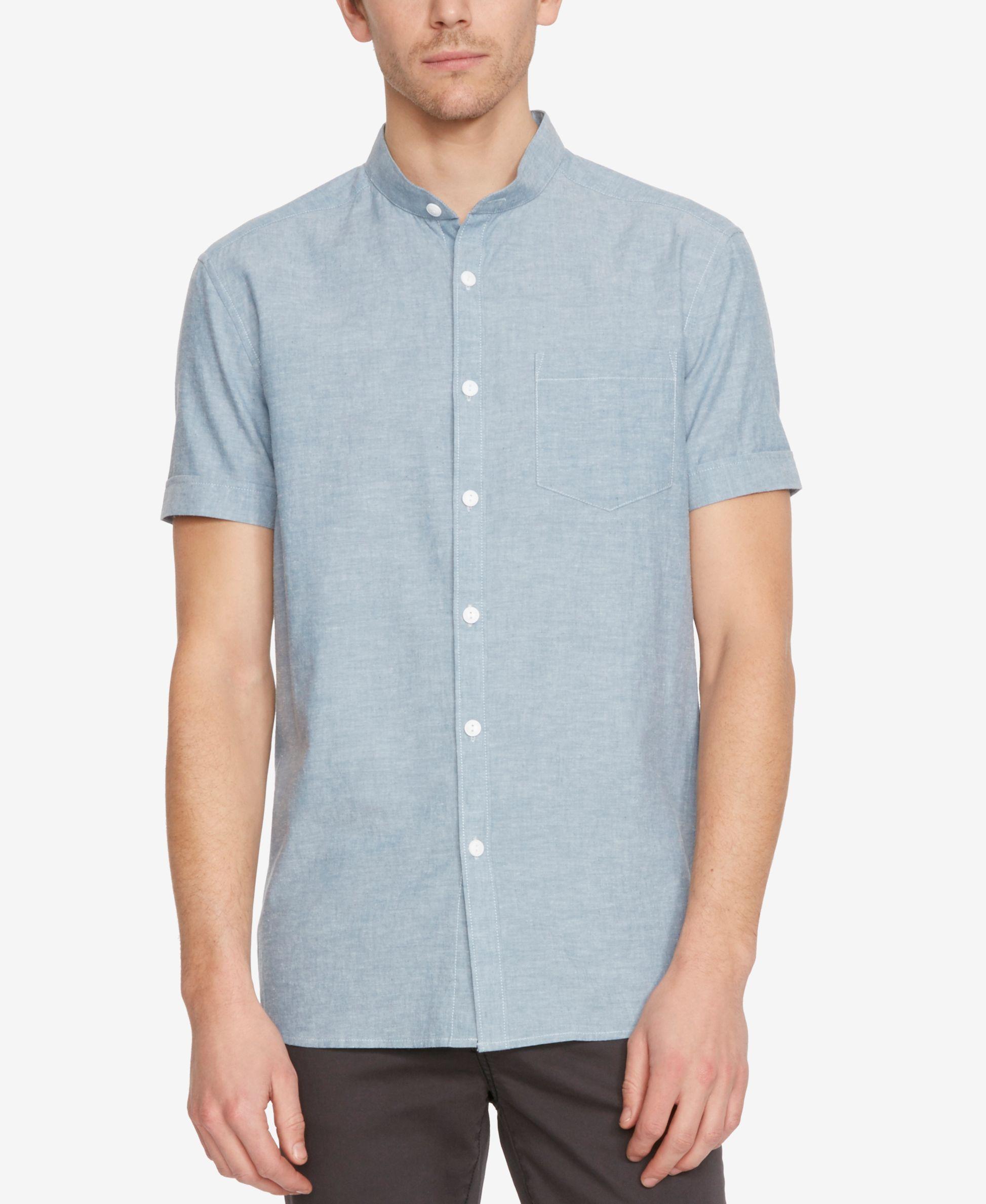 d0b60a43d6 Kenneth Cole New York Men s Lightweight Mandarin-Collar Short-Sleeve Shirt