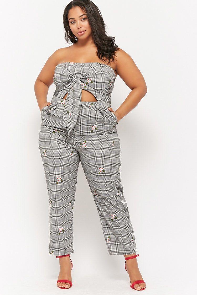 fe369057cdc4 Product Name Plus Size Floral Glen Plaid Self-Tie Jumpsuit