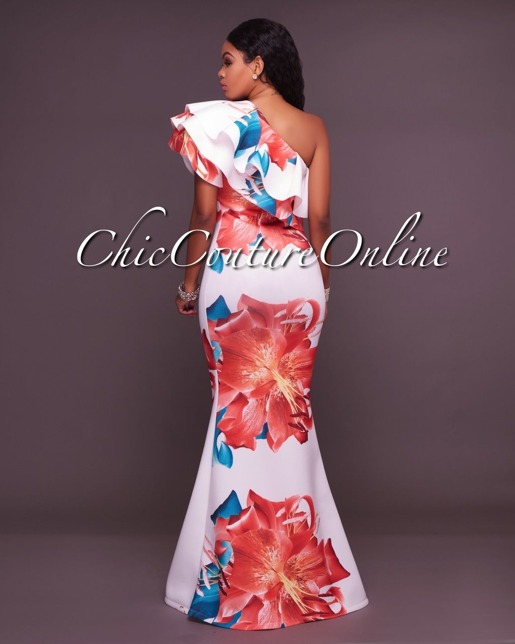 Chic Couture Online - Amalia White Bold Floral One Shoulder Maxi ...