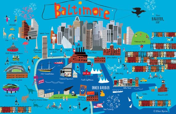 Original Funky Baltimore Poster Map Print Full Of Fun And Etsy Baltimore Poster Map Poster Illustrated Map