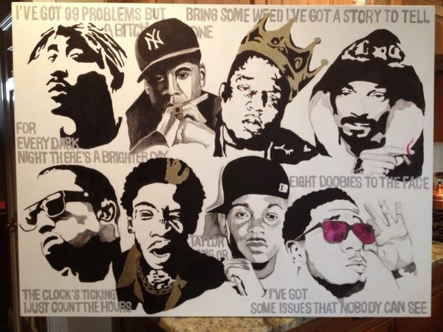 Rappers painting cal 39 s favorite rappers with lyrics on for Eminem wall mural