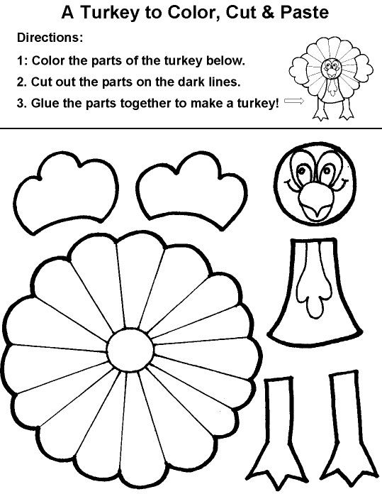 A Turkey To Color Cut Paste Thanksgiving Coloring Page