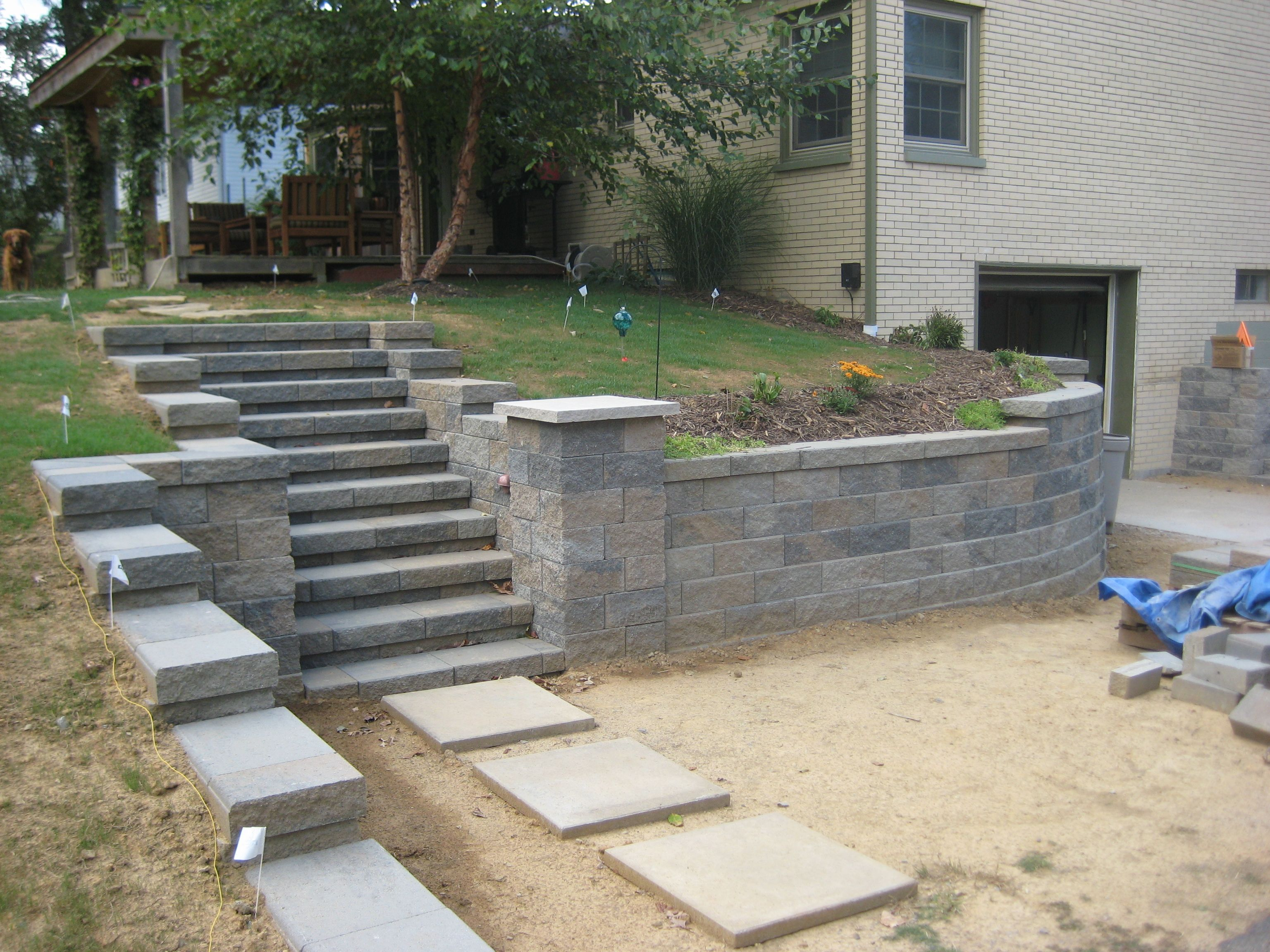 Versa-Loc stairs, pillar and wall | front patio project in