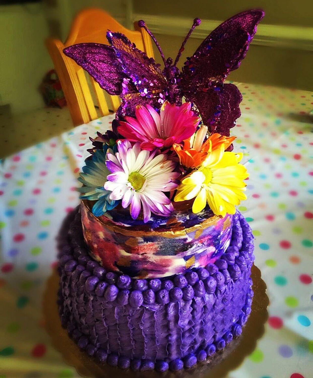 Made a beautiful water color purple butterfly cake