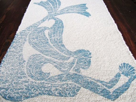 Bath Mat Cotton Rug Mermaid Color Navy Blue On Ivory On
