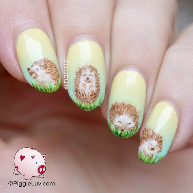 PiggieLuv: Freehand adorable hedgehogs nail art