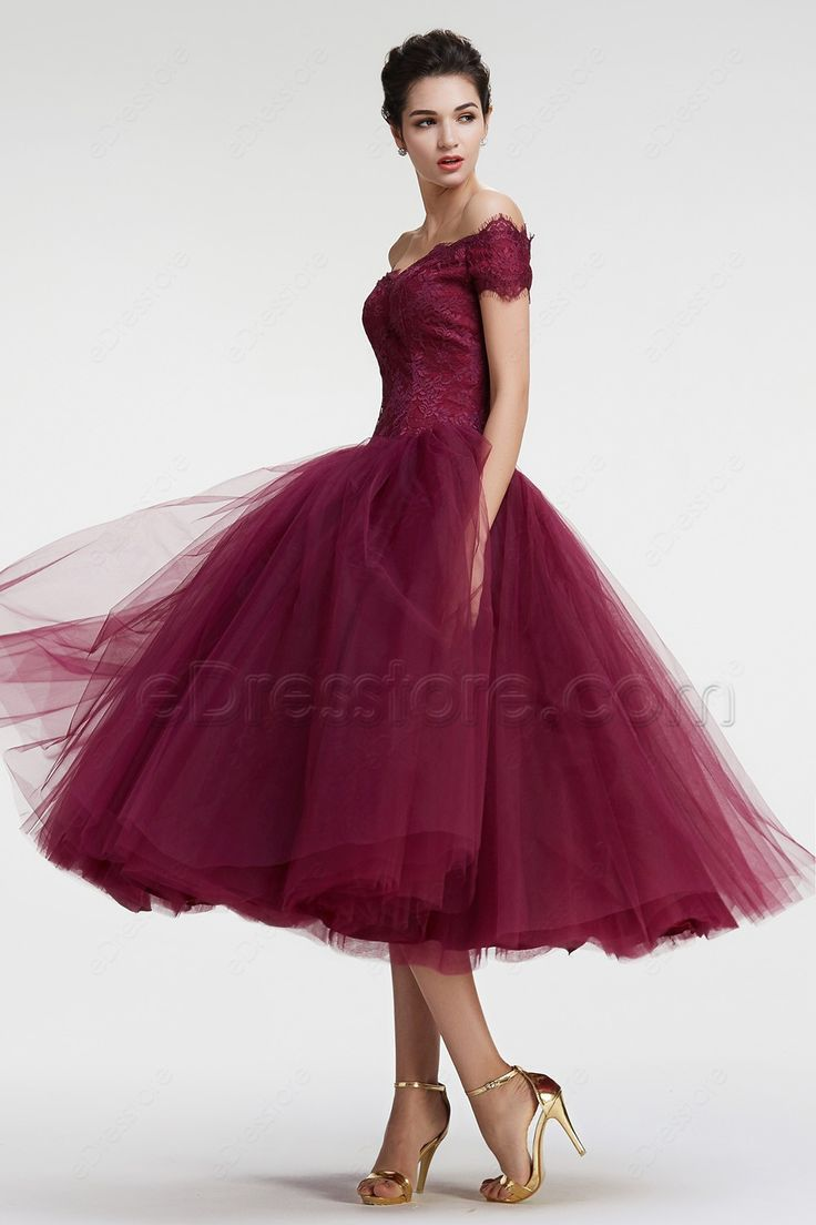 Burgundy Off the Shoulder Ball Gown VIntage Prom Dresses Tea Length ...
