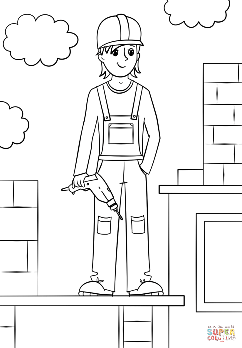 Amazing Construction Worker Coloring Page Coloring Pages Coloring Pages For Kids People Coloring Pages