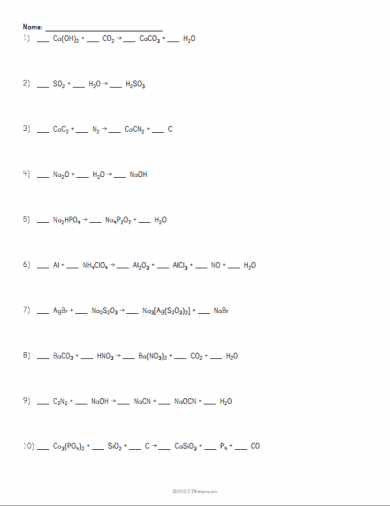 Marvelous Balancing Chemical Equations Worksheet Example