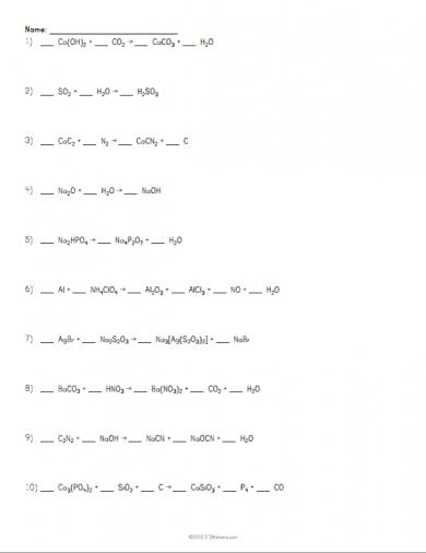 balancing chemical equations worksheet example atoms pinterest equation worksheets and. Black Bedroom Furniture Sets. Home Design Ideas