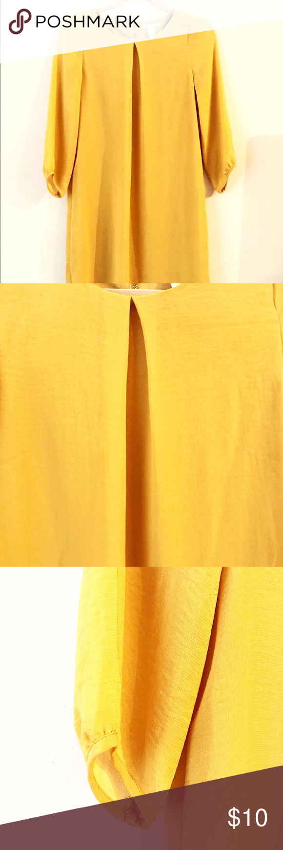 Yellow dress knee length  Knee length mustard yellow dress Worn once This dress is a box
