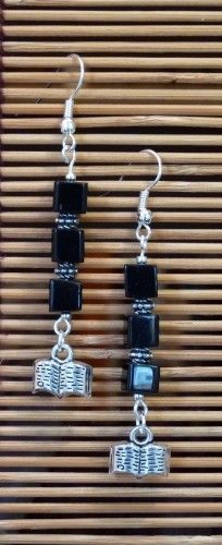 All Lined Up Book Charm Earrings in Black