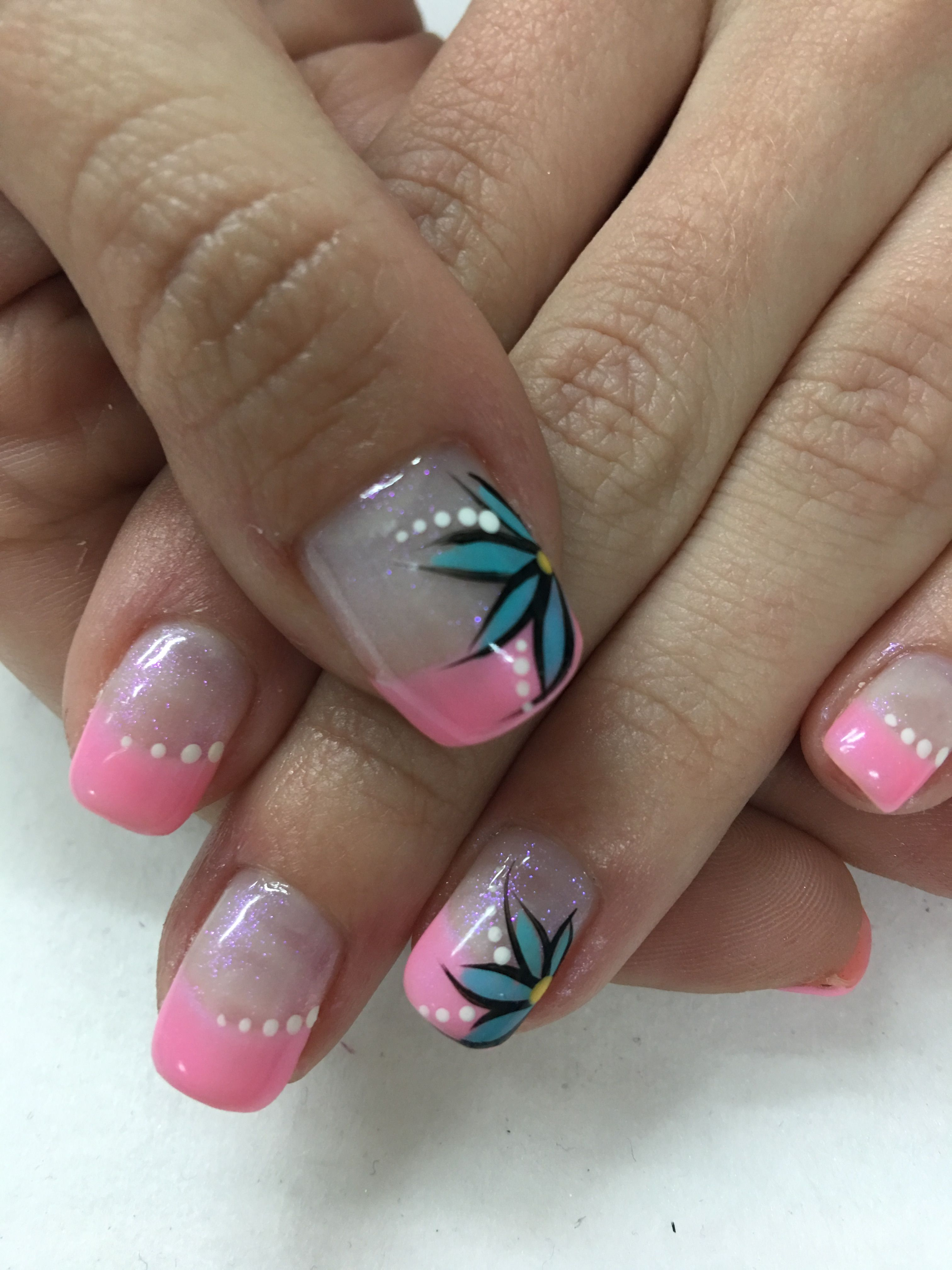 Pink Accented French Gel Nails With Fun Aqua Flowers Designs Gel