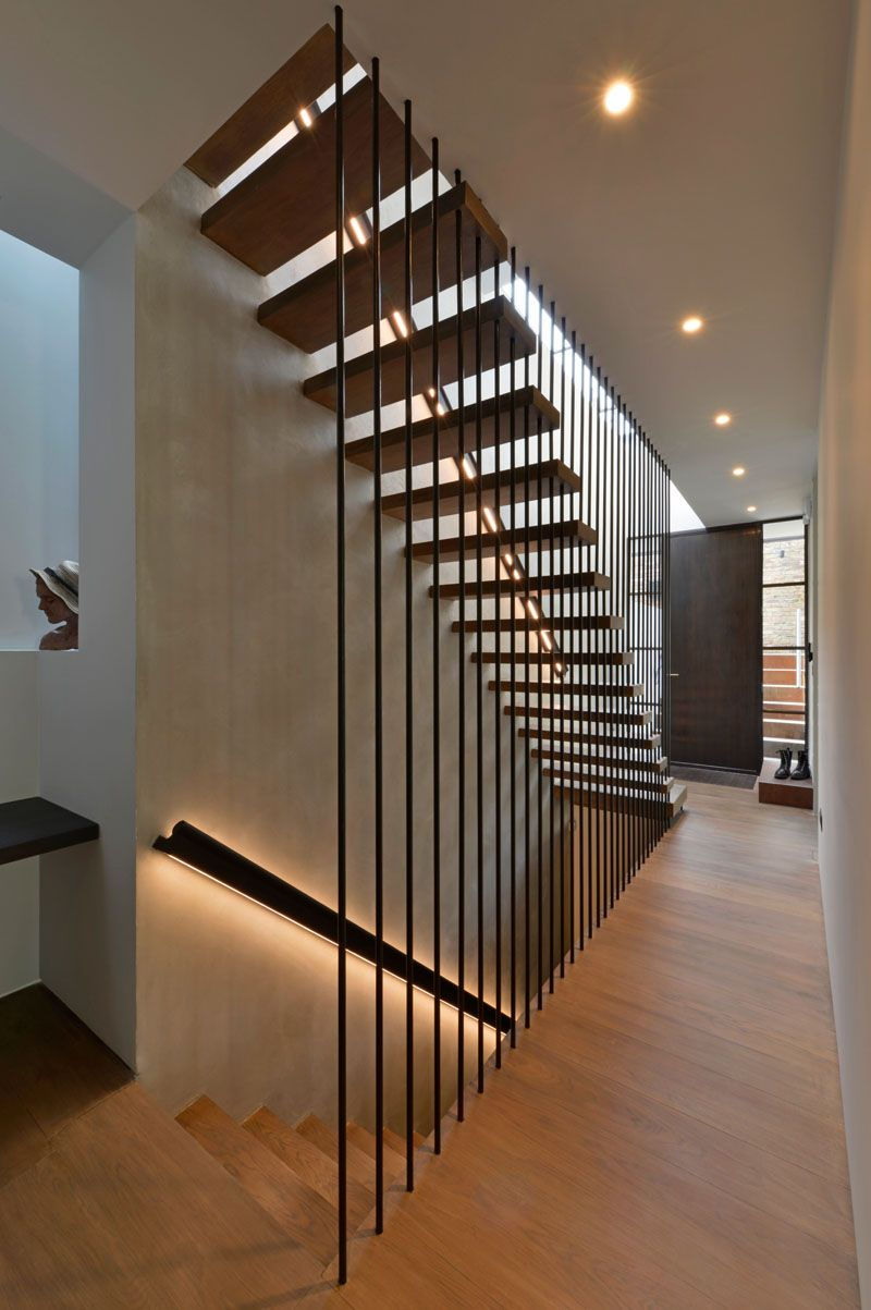 Design Detail These Wood Stairs Have A Handrail With Hidden Lighting Home Stairs Design Stairs Design Modern Stairway Design