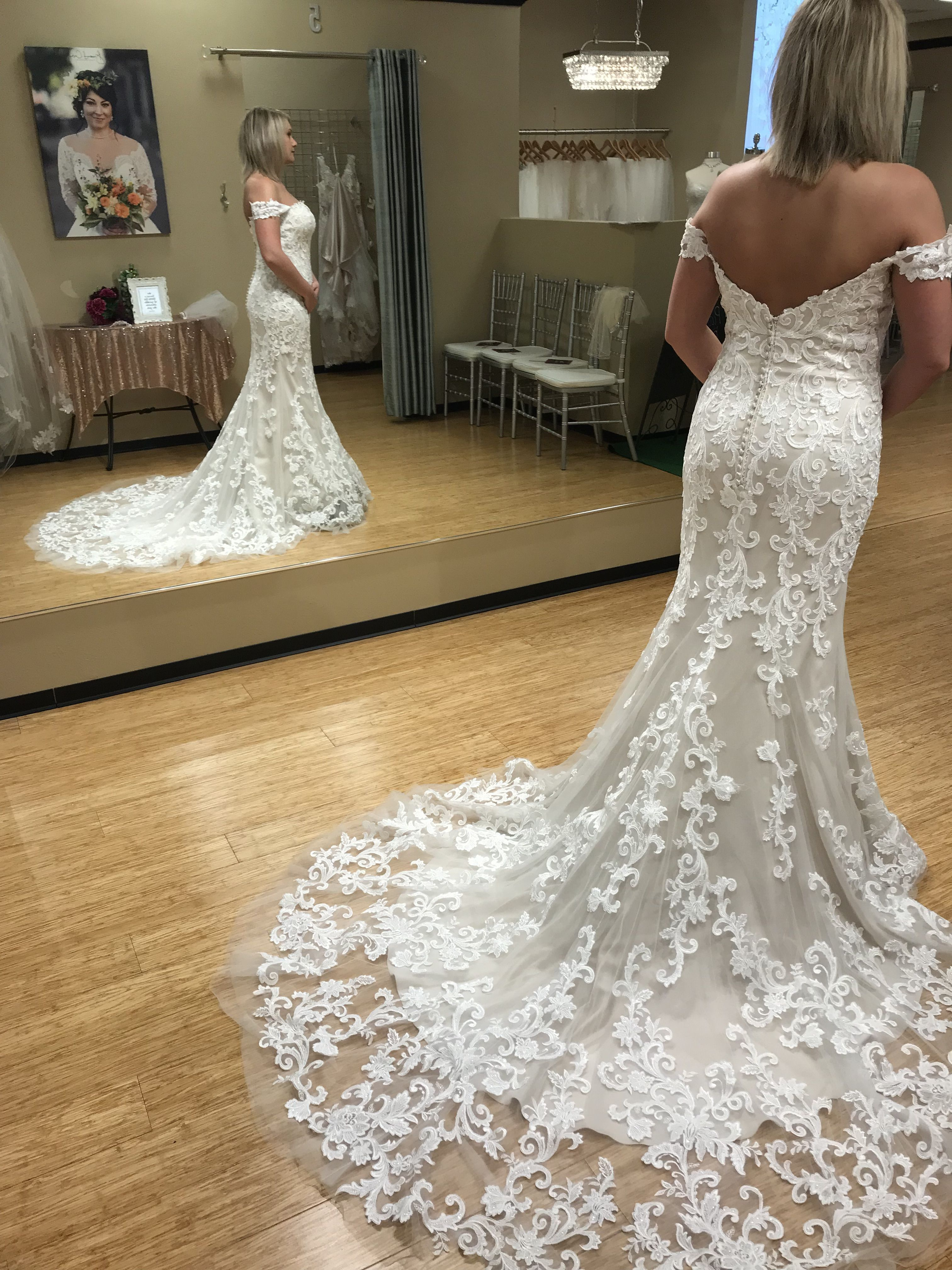 a1ea2df16ec2 The Romantic Sweetheart Neckline is Accented with Delicate Detachable Off-the-Shoulder  Sleeves. #MichellesBride #Dress #WeddingDress ...