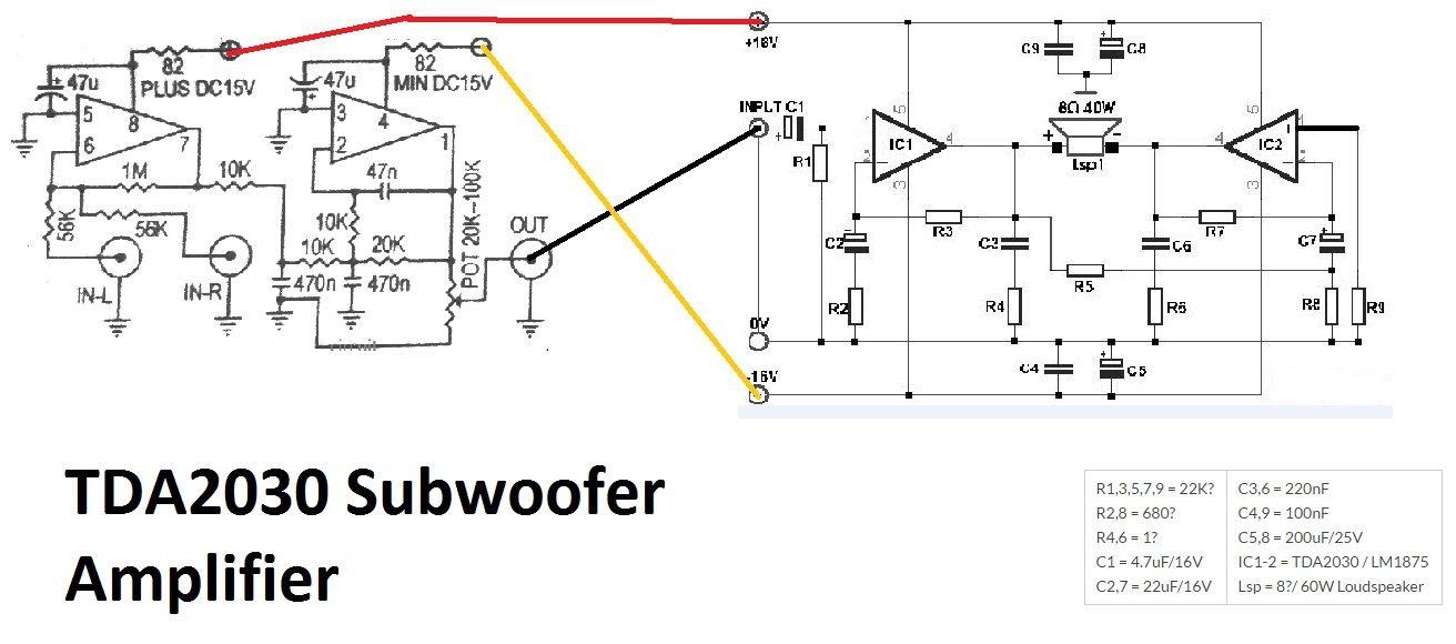 tda2030 make for subwoofer amplifier circuit using subwoofer enhancing or bosster 4558 this