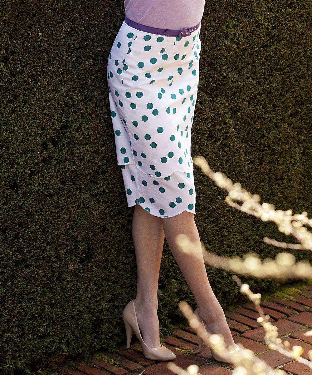 Cute scalloped polka dot skirt.