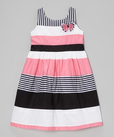 Another great find on #zulily! Pink & Black Stripe Babydoll Dress - Girls #zulilyfinds