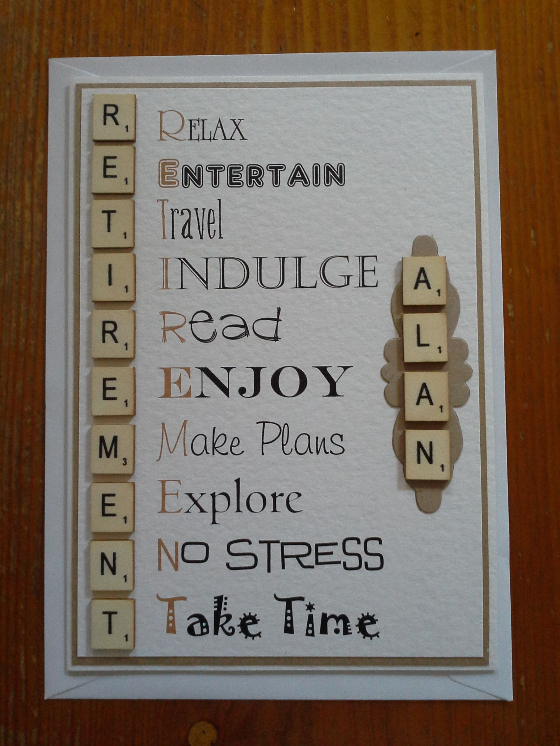 Hand Made Retirement Card Vintage Scrabble Themed Craft Projects