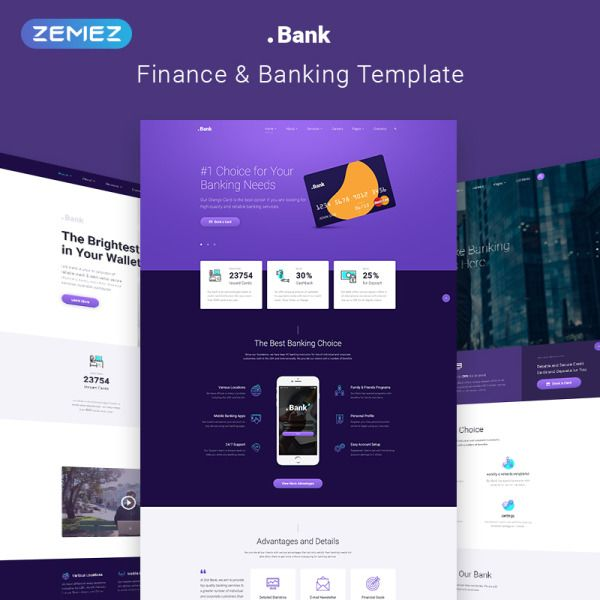 Finance & Banking Multipage Bootstrap 4 Website