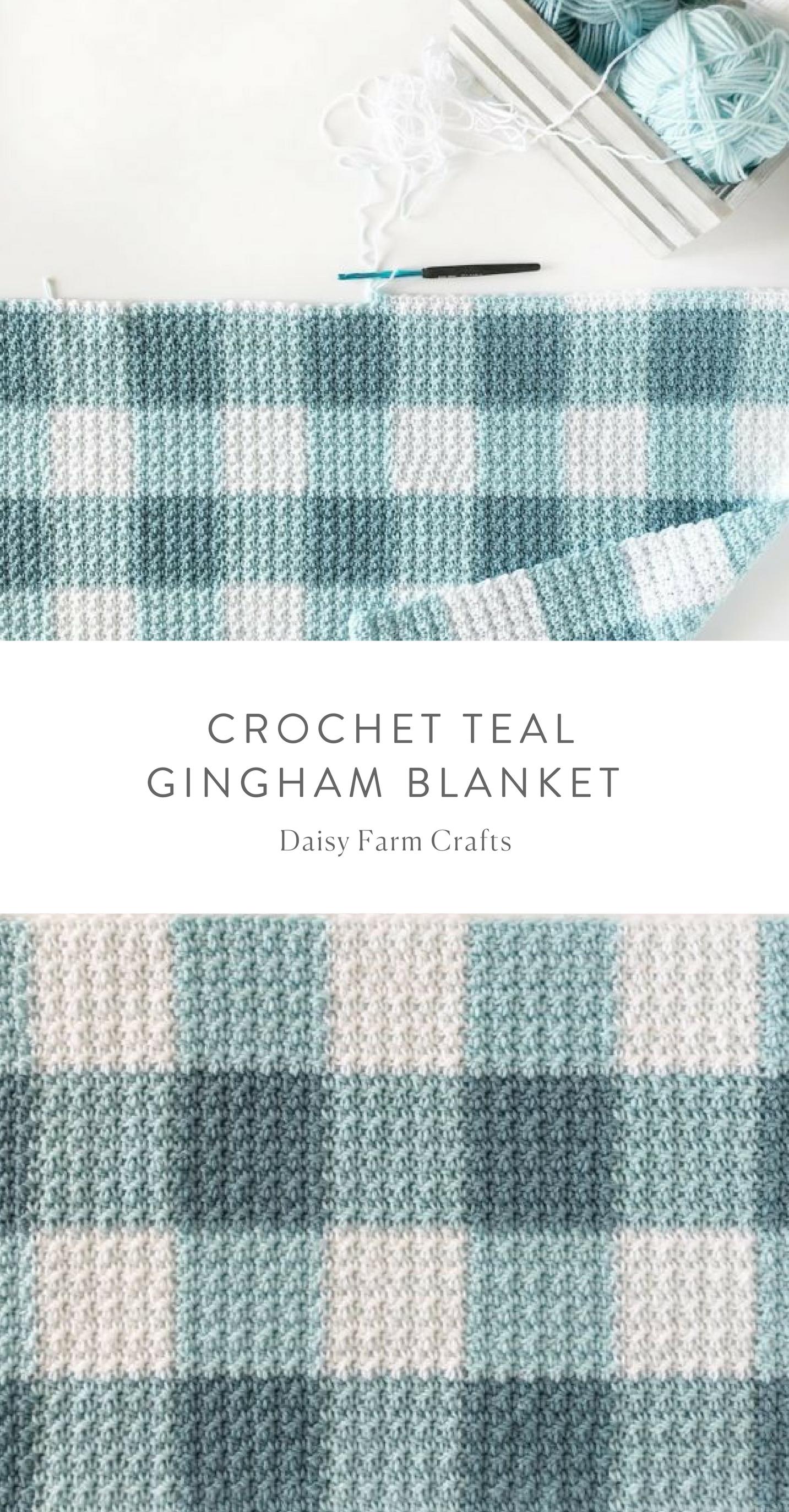 Free Pattern - Crochet Teal Gingham Blanket | soon | Pinterest ...
