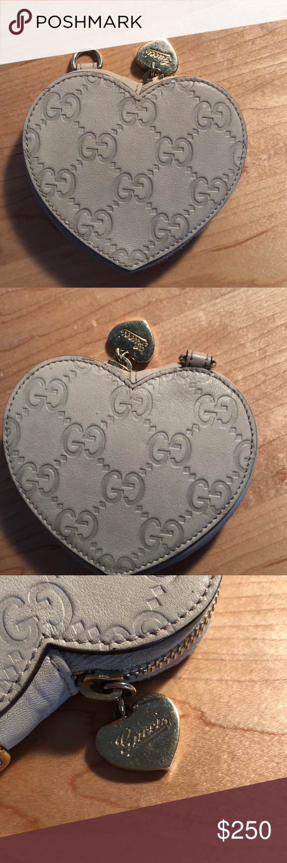 377c199de48e Guccissima leather coin purse Beige leather Guccissima heart coin purse.  I'm creat condition, some scratching on metal hardware. No box or dustbag.  Gucci ...