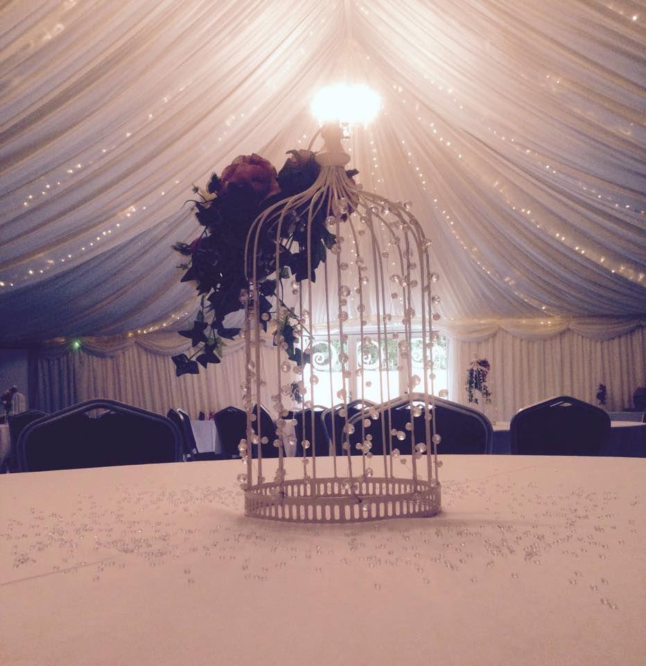 Birdcage Table Arrangement Flowers Crystals Wedding Venue West