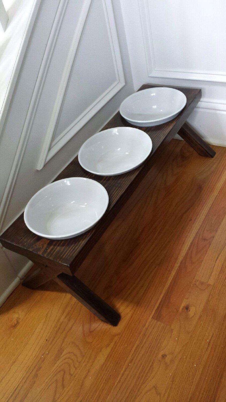 Dog Bowl Feeder, Raised, 3 XL bowls, distressed, 33 x10 x