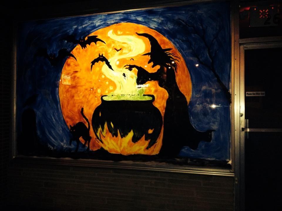 Halloween witch window painting preschool crafts art for Halloween window designs