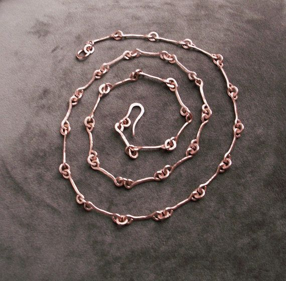 Handmade copper chain necklace copper jewelry by copperryfields, $46.00