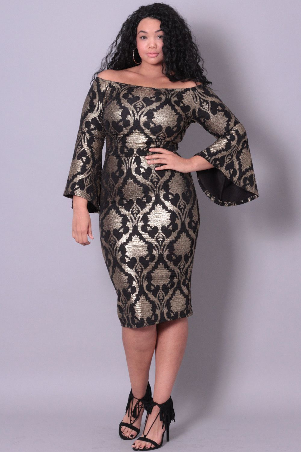 aPlus Size Jacquard 2-Piece Dress - Black/Gold