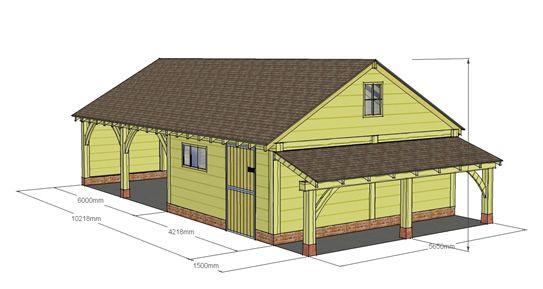 Two Bay Garage Workshop Log Store Cheshire Oak 640 x 480