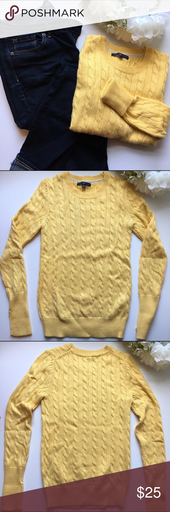 """GAP // Cable Knit Sweater - yellow The classic sweater from the GAP. Textured cable knit stitching. Features longer sleeves to be cuffed. Has been worn but in great condition.   45% acrylic 45% nylon 10% angora rabbit hair  Measurements: bust 28"""" Waist 28"""" Hips 24"""" Length 23"""" Sleeve length 25"""" GAP Sweaters Crew & Scoop Necks"""