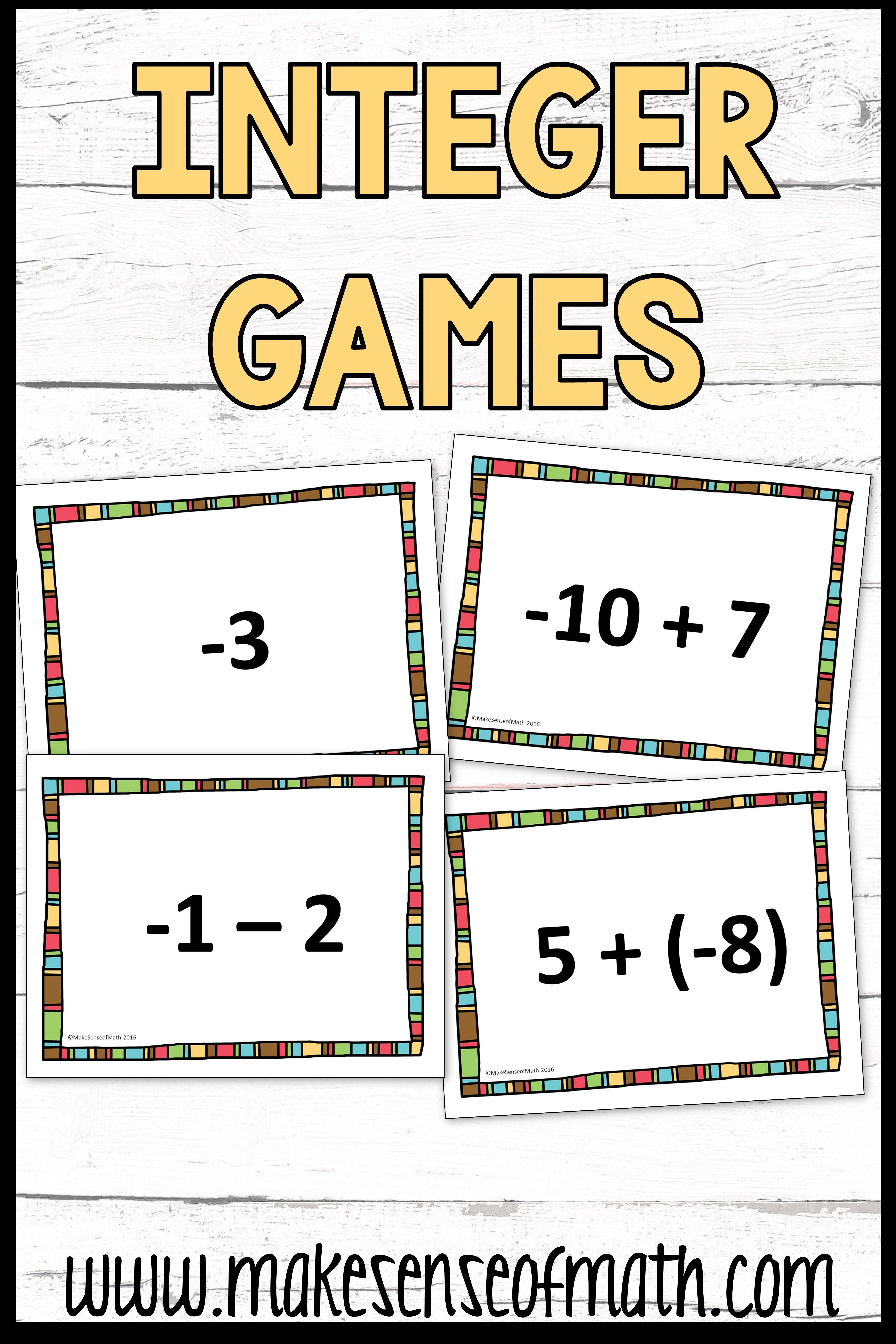 Pin On Integers Notes And Activities